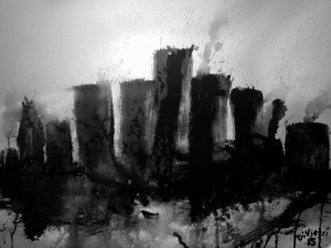 Dark Detroit Cityscape