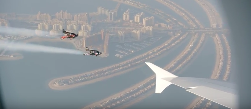two jetpacks flying